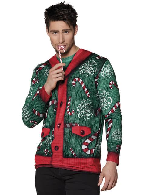 T-shirt natalícia de bengala de caramelo para homem