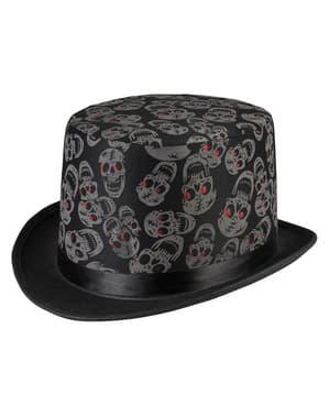 Chapéu de copa com esqueletos para homem