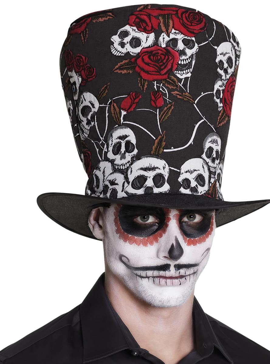 Hoher Hut mit Blumen und Totenköpfen für Herren für Kostüm | Funidelia
