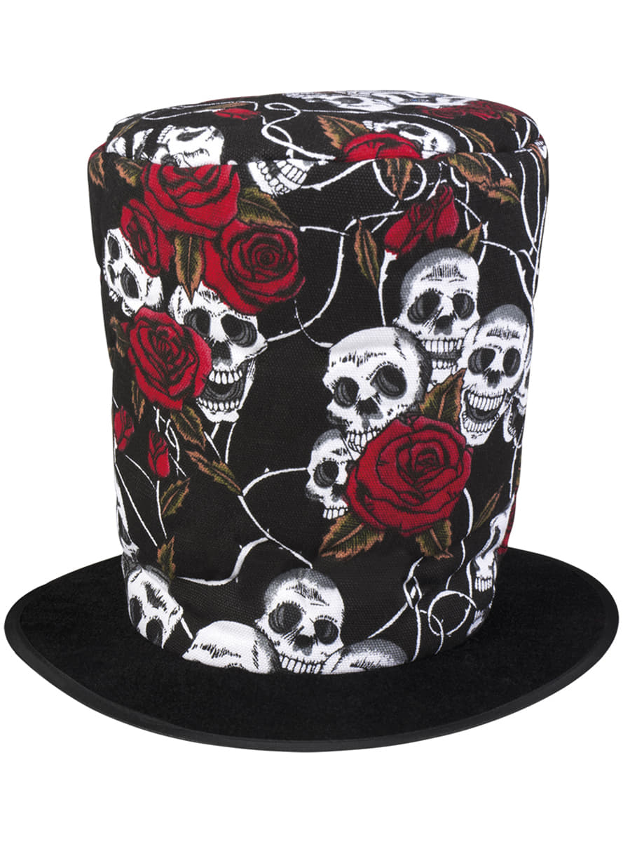 Top Hat With Flowers And Skulls For Men The Coolest