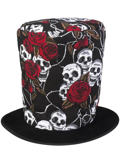 Chapéu alto de flores e caveiras para homem