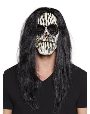 Máscara de vudú con pelo para adulto