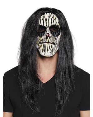 Voodoo mask with hair for adults