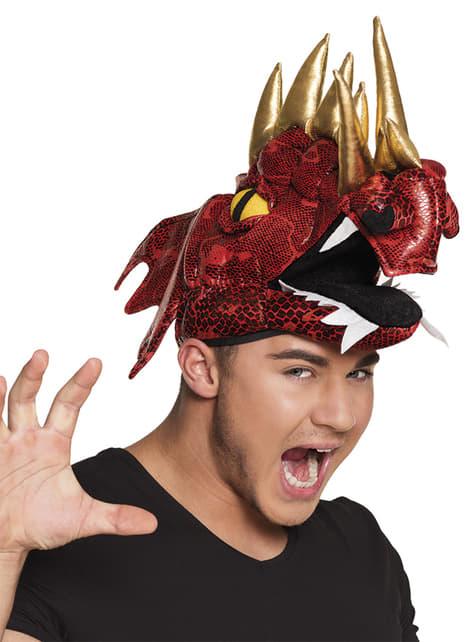 Čepice s červeným drakem s rohy pro dospělé