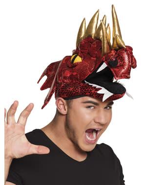 Gorro de dragão vermelho com cornos para adulto