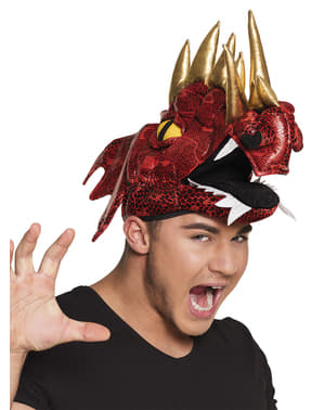 Red dragon with horns hat for adults