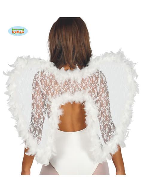 Alas de ángel con puntilla y plumas blancas infantiles