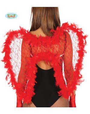 बच्चे के लिए लाल पंखों के साथ एंजेल पंख लगाए