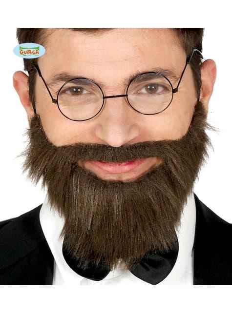 Barba y bigote negra lisa para hombre