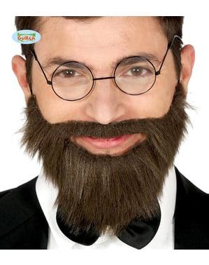 Barba e baffi castani da uomo