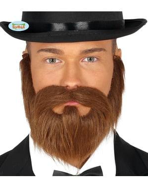 Barba y bigote castaña lisa para hombre