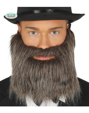 Mens Gray beard with rubber band
