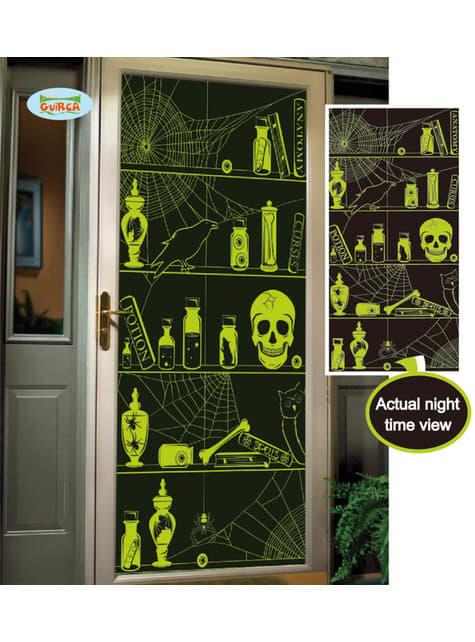 Glow-in-the-dark skulls door decoration