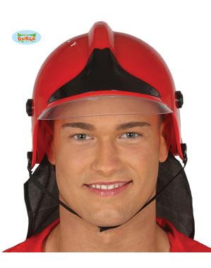Casque de pompier rouge adulte