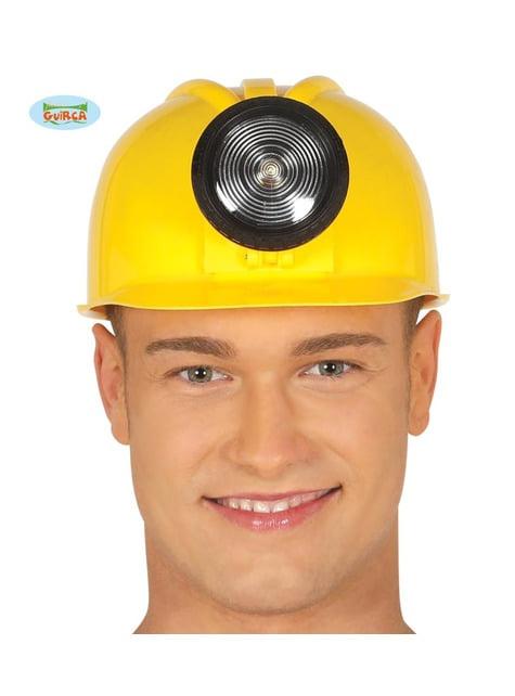 Casco de obrero amarillo con luz para adulto