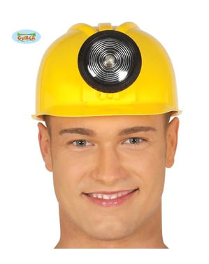 Worker's yellow helmet with light for adults