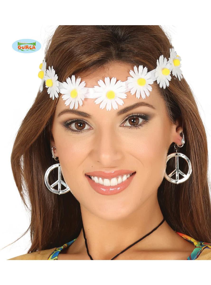 bandeau cheveux fleurs blanches hippie les plus amusants funidelia. Black Bedroom Furniture Sets. Home Design Ideas