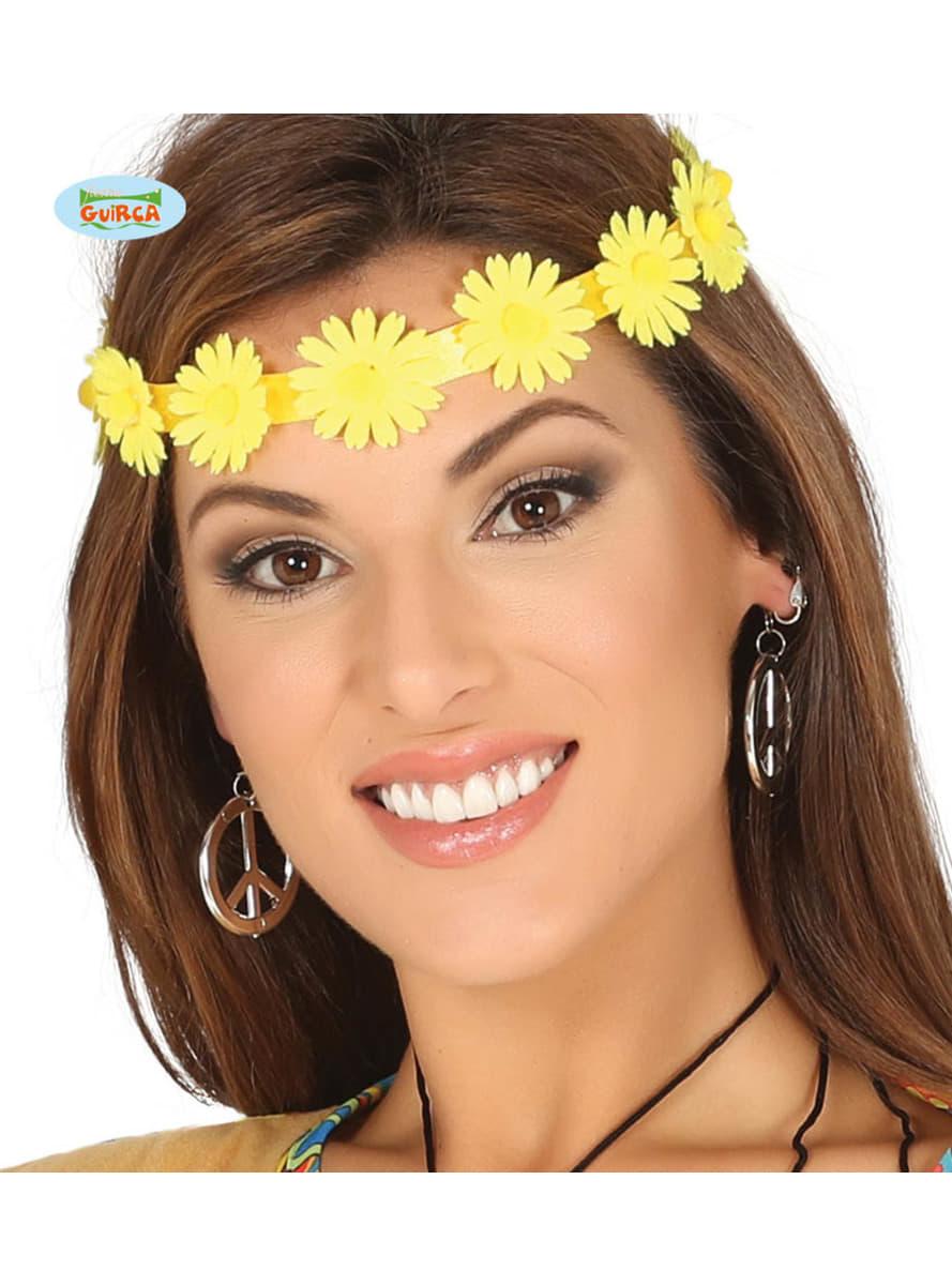 bandeau cheveux fleurs jaune hippie funidelia. Black Bedroom Furniture Sets. Home Design Ideas