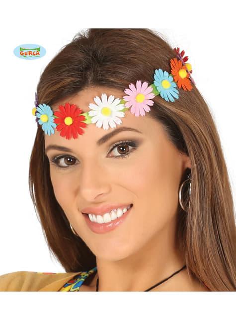 Bandeau cheveux fleurs multicolores hippie