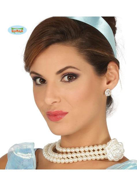 Collar de perlas con flor de princesa