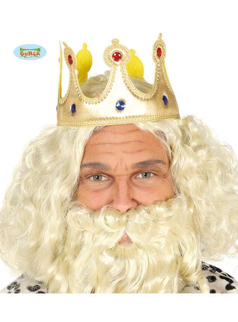 Corona de rey dorada de tela para adulto
