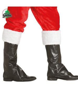 Tapa botas de Pai Natal pretos com peluche branco