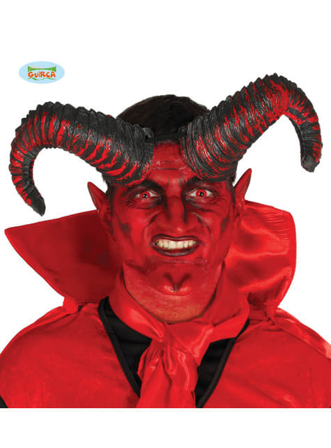 Cuernos de demonio negros y rojos prominentes para adulto