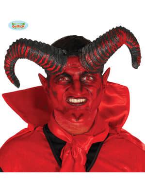 cornos de demónio pretos e vermelhos proeminentes para adulto