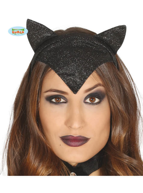 Diadema de mujer gato negra para adulto