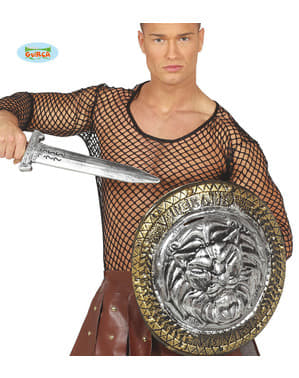 Bouclier gladiateur lion avec épée argentée