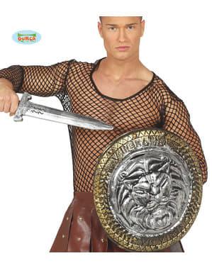Scut de gladiator leu cu sabie argintie