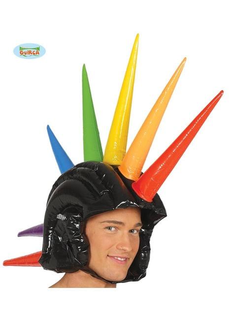 Casco con cresta hinchable multicolor