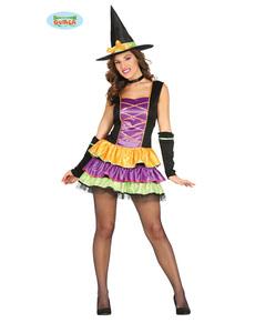 Disfraz de bruja colorida con volantes para mujer