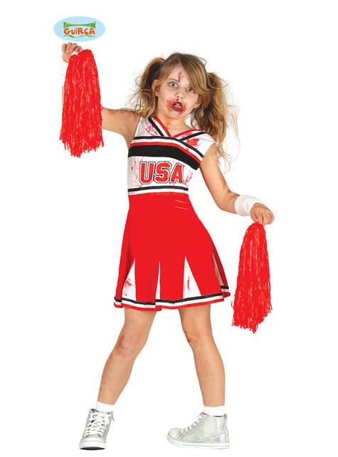 Disfraz de animadora zombie de instituto para niña