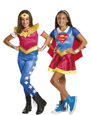Costume da Supergirl e Wonderwoman DC Superhero Girls per bambina
