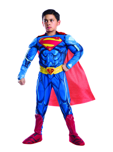 Superman Muscle Costume for boys includes a Superman jumpsuit with attached boot covers and a cape. He can turn into Superman in this Justice League costume.