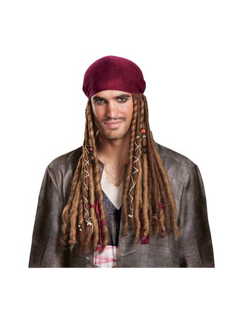 Bandana avec cheveux Jack Sparrow La Vengeance de Salazar pour adulte
