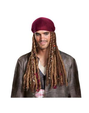 Bandana con parrucca da Jack Sparrow, Pirati dei Caraibi - La vendetta di Salazar per adulto