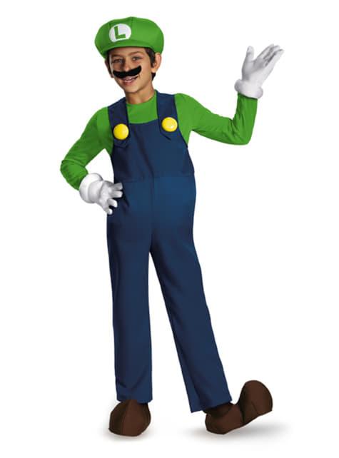 Disfraz de Luigi super prestige con cubrepies para niño
