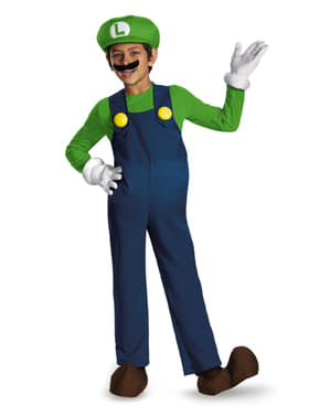 Luigi Super Prestige Costume with Shoe Covers for Boys