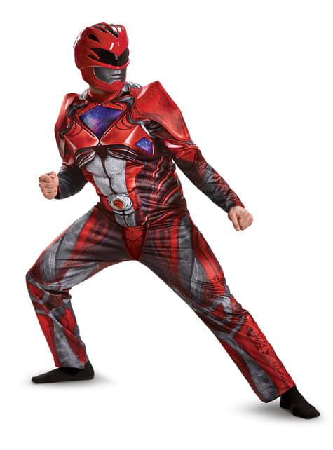 Fato de Power Ranger vermelho movie musculado para adulto