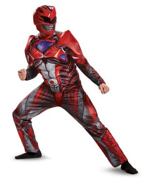Muskulöses Power Ranger Movie Kostüm rot für Erwachsene
