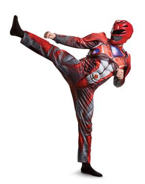 Costume Power Ranger rosso movie muscoloso per adulto