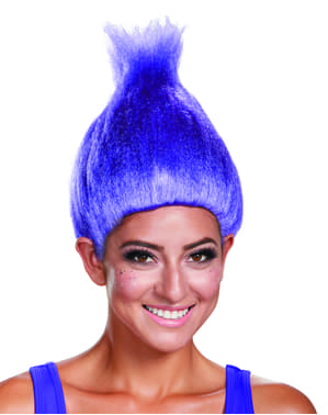 Peluca de Trolls azul neon para adulto