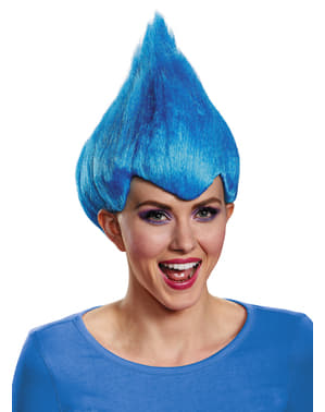 Peruca de Trolls azul para adulto