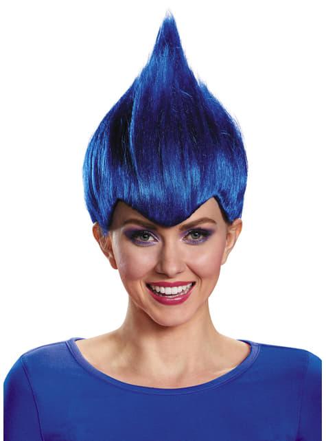 Peluca de Trolls azul oscuro para adulto