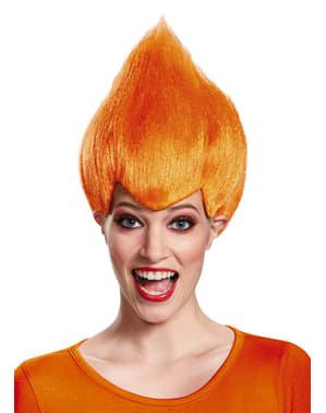 Trollen pruik oranje voor volwassenen