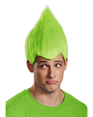 Peruca de Trolls verde para adulto