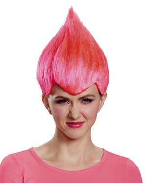 Parrucca di Trolls rosa per adulto