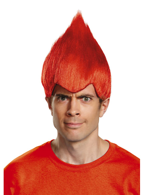 Peluca de Trolls roja para adulto - para tu disfraz